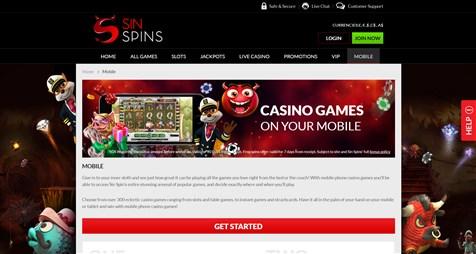 Sin Spins Casino Games