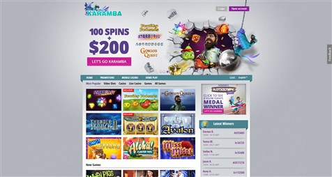 Karamba Casino homepage